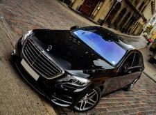 Прокат автомашины Мерседес W222 в Питере черный внешний вид